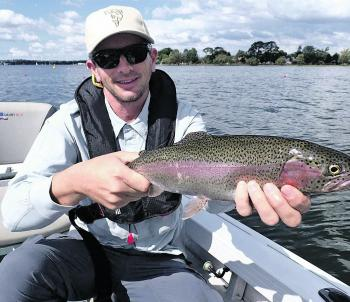 Trev Crawford nailed this lovely rainbow trout casting Woolly Bugger fly patterns on Lake Wendouree Loch Style flyfishing out of a drifting boat. Photo courtesy of Scott Xanthoulakis.