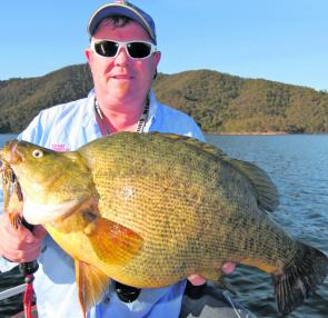 The author with a massive yellowbelly that was around 6kg. Photo courtesy Rod McKenzie.