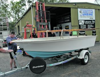 Settling onto the Dunbier multi roller trailer. The sky blue toning is just the ticket for a stealth approach to pelagic fish.