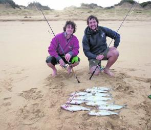 Ben Broomfield and Matt Luscombe with some excellent salmon taken at Gunnamatta.