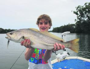 Zach caught his first mulloway on a soft plastic in the Tuross River.