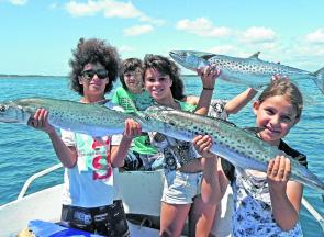Jett, Moet, Ruby and Levi got into the spotted mackerel in Laguna Bay. (Photo courtesy of www.fishingnoosa.com.au)