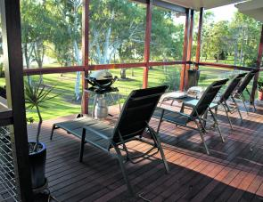 Wide top-storey decks are there for Baffle Retreat's guests to enjoy.