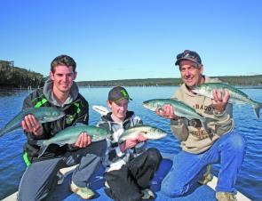 Salmon are in big numbers in local estuaries. Graeme, Steve and James with a few from a 30-fish session.