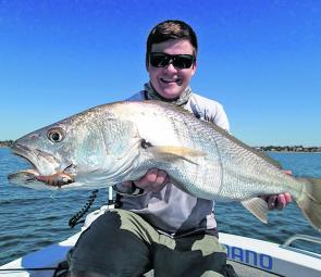 Nathan Newton caught this cracking mulloway off the shores of Redcliffe.