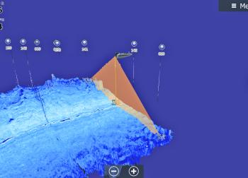 We can see the boat in the middle of the screen, this represents where we are. The cone is covering a large area to the left and right of the boat, this represents what we are scanning.