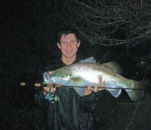 Proof that barra live in the Noosa system. Chris Lacey caught and released this fine specimen on a lure after dark.