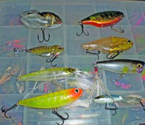 Some of the author's favourite Glenbawn lures: From left, top, Megabass Siglett, Jackall TN 60; next row, Evergreen 3/8oz blade, Jackall Mask Vib; next row Jackall Squirrel suspending jerkbait, Jackall SK Pop; bottom, Lucky Craft Sammy, Jackall ice jig.