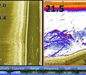 Lowrance HDS 8 shot of bass chasing along the edge of a bank. Note bass out to side of boat on Structure Scan image.