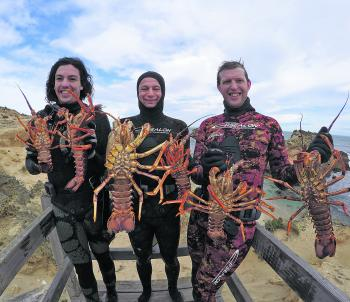 Joel, Nick and Nathan with some Mornington Peninsula lobster.