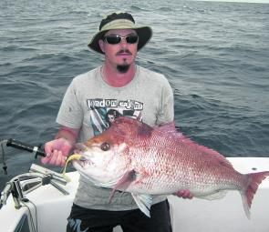 On the same day as the mahi mahi, Kyle also caught this 93cm, 10kg snapper!