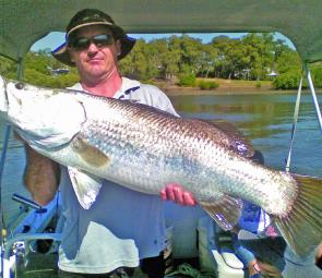 Mark thompson caught this barra almost on the boat ramp.