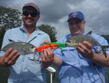 Lou and James got into the surface action on trevally recently, which has been great fun.