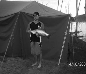 The first legal barra caught for the weekend was landed by Dean Sutton and went 62cm.
