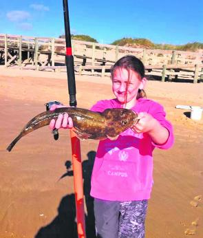 Emily Reid caught this ripper blue spot flathead at Seaspray. She even out fished her old man!