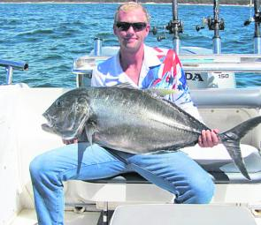 Steve Templeton from Tackleland Sandgate with a 30kg GT caught while trolling for mackeral.
