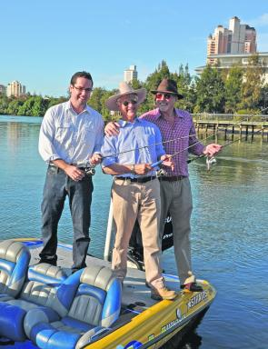 Left to right: Aidan McLindon and Bob Katter from Katter's Australian Party with fishing personality Rex Hunt.