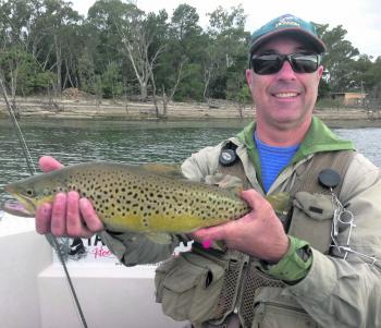 Melbourne fly angler David Woods with a prime Lake Fyans brown.