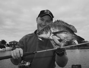 Adam Royter with a nice Patterson River bream taken on an Ecogear Nories Worming Crank Shot hard-bodied lure fished on 2lb fluorocarbon""