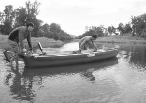 Hitching up an electric motor to the back of the Bayou is simple and allows you to fish for hours up and down rivers.