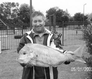Todd Sheehan with a snapper caught of 5.9kg that he caught off the Lee Breakwall in Portland.