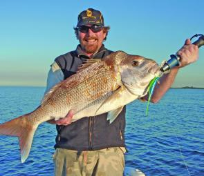 Chris Deeks with a quality Mud Island snapper.