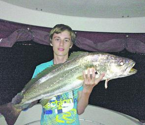 Billy Gillon with a Lake Mac mulloway taken during a night session on a whole yellowtail.