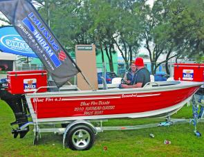 The final two lucky draw entrants await the random draw to find out who won this magnificent Blue Fin Scoundrel with Suzuki outboard from Whitewater Marine, Blue Fin Boats and Suzuki. The eventual winner was David Muller of the Diggers team.