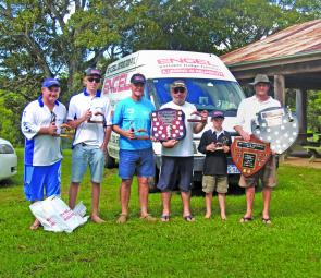 Individual and team winners included (left to right): Glen Casey, Dan Steele, Wayne Lodington, Tony Zann, Jayden Ferris and Shane Brown.