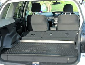 With rear seats down the Forester will carry plenty of luggage or camping gear.