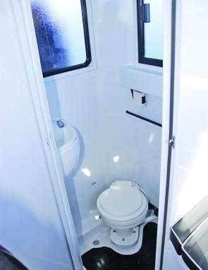 A full sized shower and toilet compartment is a winning feature of this craft.