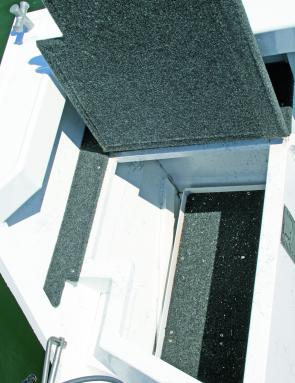 The aft hatches are finished off well with quality carpet and solid hinges.