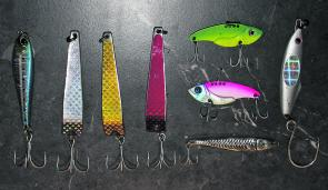 If you want to get into jigging this selection of metals is a good start. Large metal vibes are good for short rips whilst large bumper bars are ideal for a burn retrieve. Knife jigs are also good, however, leave your big long ones at home and stick to th