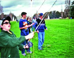 Students at the Canberra Anglers Association pre-season fly casting classes on the lawns of Old Parliament House, taking their first steps in a new fishing career.