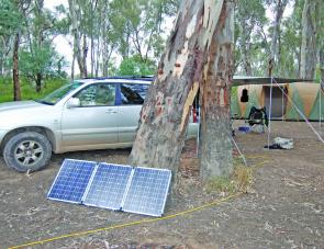 The camp site at Torrumbarry was set up to have the solar panels near the car where the battery was, yet out of the way of the main camp.
