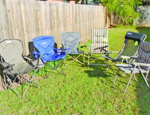 From left to right: Coleman Deluxe Cooler Chair, Outdoor Lumbar Support Chair, The Outdoor Folder, Coleman King Chair, Coleman Como Chair and the Coleman G.P Space Saver.