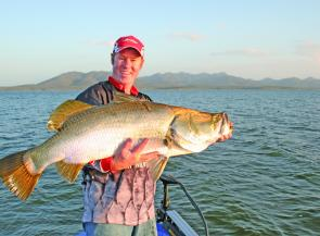"This barra was caught by targeting the base of the weed beds with 5"" Hollow Bellies."