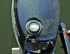 To keep users informed, there's a voltmeter on the cowling top of the Parsun 4hp electric outboard.
