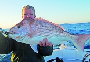 Graham Brake with a 5kg snapper caught in mid-water over a rubble patch.