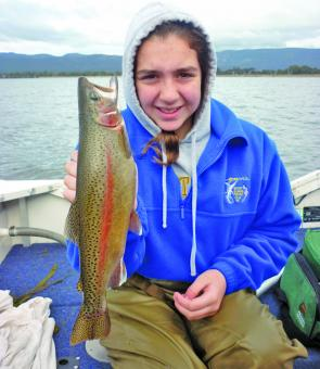 Jasmine Caruana with a very nice rainbow trout she caught at Lake Fyans