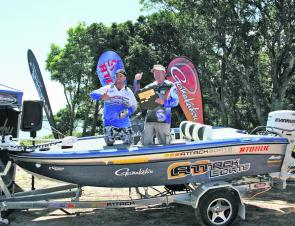Matt Finney and Anthony Duff with their new Attack/Evinrude rig after bagging first place in the Gamakatsu Teams Series Grand Final at Iluka.