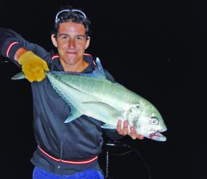 Steve Ward with a hefty big eye trevally, caught in the Nerang River.