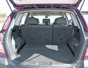 The Captiva's reasonable 430L luggage space is enhanced by slipping the second row of seats downwards.
