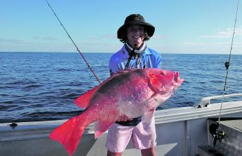 Nannygai are certainly in the chew – Tom Bennett caught this nice specimen in deep water at Sykes Reef.