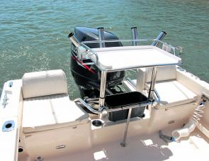 Pleasing stern features include the two seats aft plus the wash-down shower. The bait station was installed by the owner.