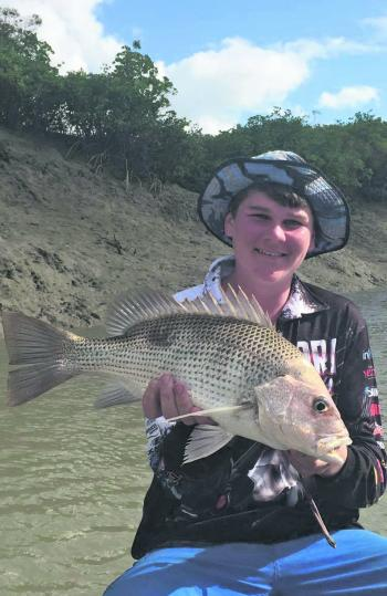 Ethan took this lovely golden snapper (fingermark), which are also revelling in the run-off.