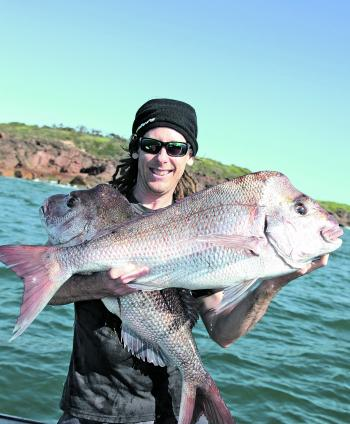 The author with his hands full of quality Port Stephens snapper.