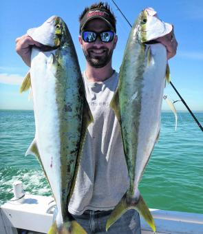 The author with a couple of typical Mornington Peninsula kingfish on knife jigs.