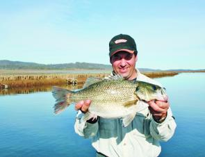 Kerry Ehrlich has a knack for catching big bass. This specimen is in prime winter condition.