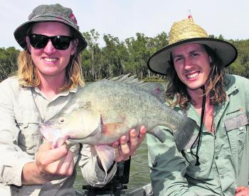 Luke Haaja and Russell Payne with a nice summer yellowbelly caught on a Koolabung Codzilla.